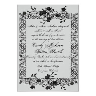 Gothic style black gray rose wedding invitations