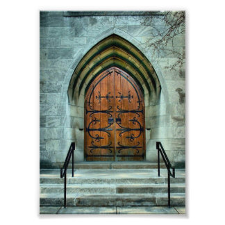 Gothic style church door photo print