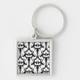 Gothic Style Damask Pattern Silver-Colored Square Keychain