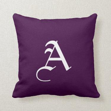 Gothic Style Dark Purple Monogram Throw Pillows