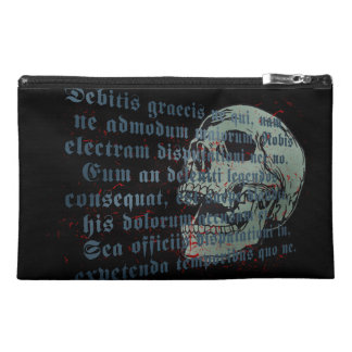 Gothic style skull with latin text foreground, travel accessory bag