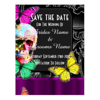 Gothic sugar skull and black save the date postcard