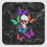 Gothic sugar skull & butterflies square stickers
