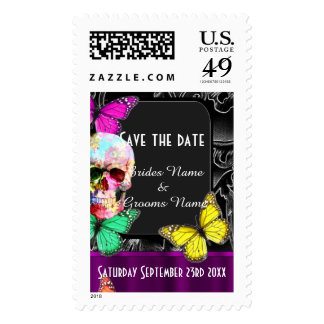 Gothic sugar skull on black save the date stamps