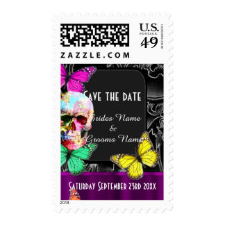 Gothic sugar skull on black save the date postage stamps
