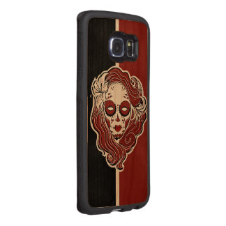 Gothic sugar style skull siren wood phone case