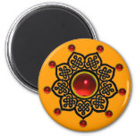 GOTHIC SUN  Red Ruby Gem,Yellow Magnet
