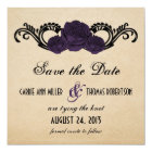 Gothic Swirl Roses Save the Date Invite, Purple Card