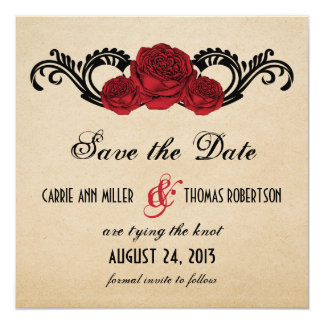 Gothic Swirl Roses Save the Date Invite, Red Card