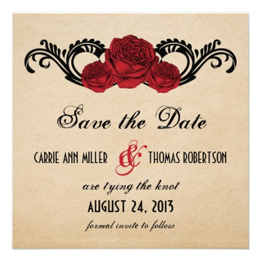 Gothic Swirl Roses Save the Date Invite, Red