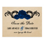 Gothic Swirl Roses Save the Date Postcard, Blue