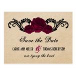 Gothic Swirl Roses Save the Date Postcard, Fuchsia