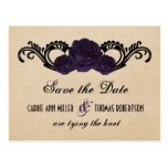 Gothic Swirl Roses Save the Date Postcard, Purple