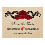 Gothic Swirl Roses Save the Date Postcard, Red