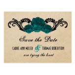 Gothic Swirl Roses Save the Date Postcard, Teal