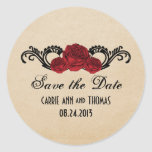Gothic Swirl Roses Save the Date Stickers, Red