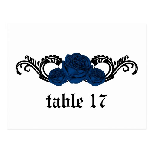 Gothic Swirl Roses Table Number Postcard, Blue