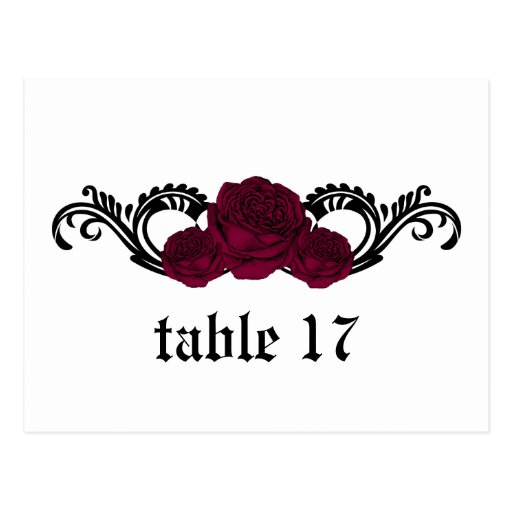 Gothic Swirl Roses Table Number Postcard, Fuchsia