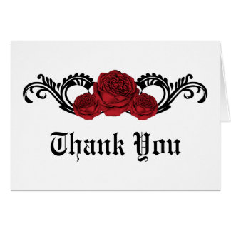 Gothic Swirl Roses Thank You Card, Red Stationery Note Card