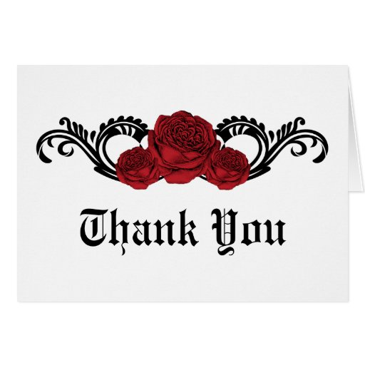 Gothic Swirl Roses Thank You Card Red Zazzle