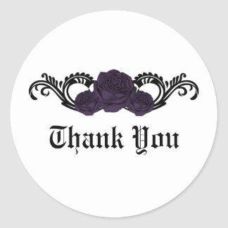 Gothic Swirl Roses Thank You Stickers, Purple Classic Round Sticker