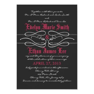 "Gothic Swirl Wedding Invitation 5"" X 7"" Invitation Card"