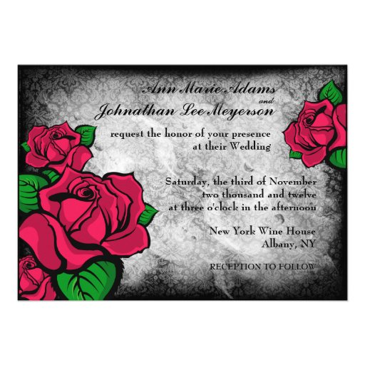 Gothic Tattoo Roses on Damask Background Invite