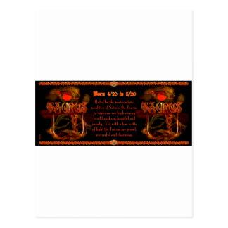 Gothic Taurus zodiac astrology by Valxart.com Postcard