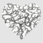"""Gothic Thorns 1.5"""" Heart Stickers"""