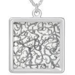 Gothic Thorns Square Sterling Silver Necklace