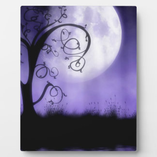 Gothic tree and moon plaque