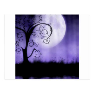 Gothic tree and moon postcard