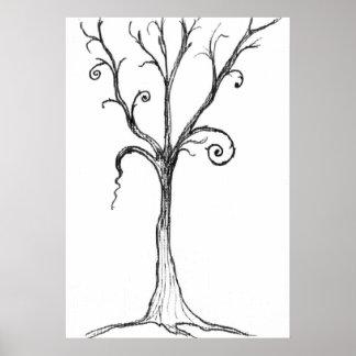 Gothic Tree Illustration Poster