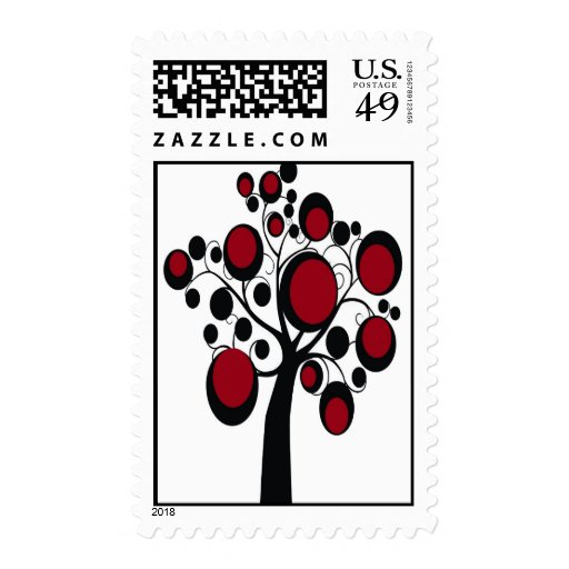 Gothic Tree in Red Stamp