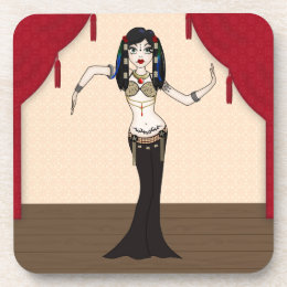 Gothic Tribal Fusion Bellydancer in Stage Scene Drink Coaster