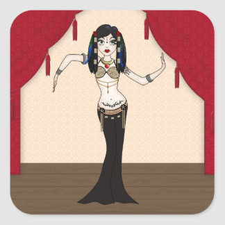Gothic Tribal Fusion Bellydancer in Stage Scene Square Sticker