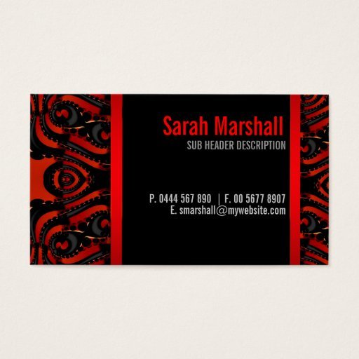 Gothic Tribal Goddess Red Black Business Card
