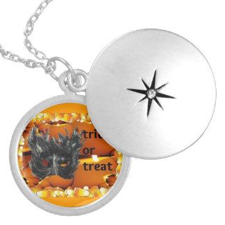 Gothic Trick Or Treat Mask Round Locket Necklace
