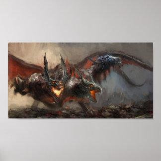 Gothic Triple-Head Dragon Mini Poster