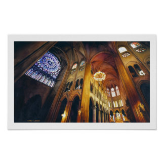 """Gothic Twist"" Notre Dame Cathedral Watercolor Poster"