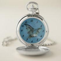 Gothic Type Blue Flying Bat White Face Pocket Watch