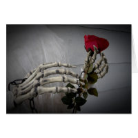 Gothic Valentine's day skeleton holding a rose Card
