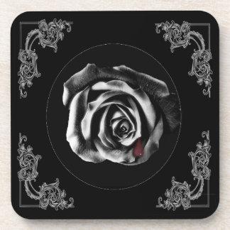 Gothic Vampire Black rose Beverage Coaster