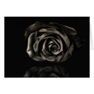 Gothic Vampire Black rose happy birthday Card