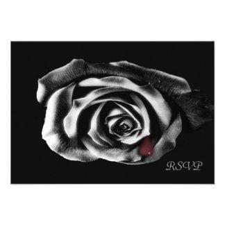 Gothic Vampire Black rose Personalized Invite