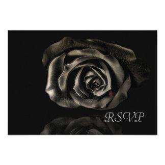 Gothic Vampire Black rose invitations