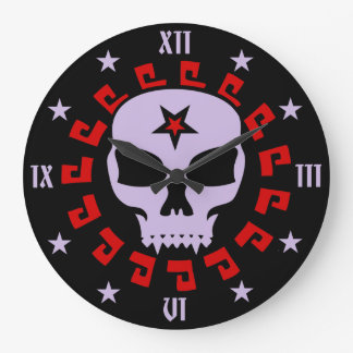 Gothic Vampire Pentagram Skull Round Wall Clock