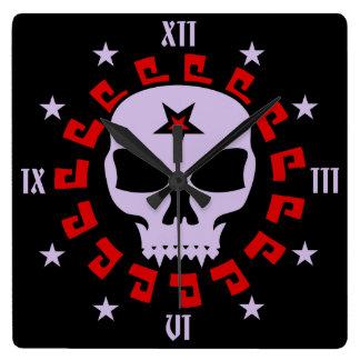 Gothic Vampire Pentagram Skull Square Wall Clock