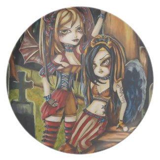 Gothic Vampire Sisters Fantasy Surreal Art Plate plate