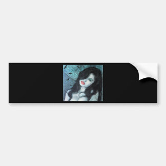 Gothic vampire woman black hair original art ELD Bumper Sticker